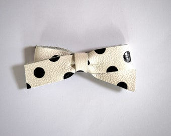 School Girl White with Black Polka Dots Leather Bow Clip Adorable Photo Prop for Newborn Baby Little Girl Child Adult Pretty Bow Clip