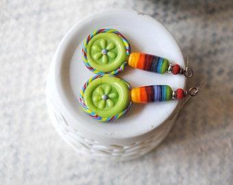 Rainbow Earrings, Flower Earrings, Lampwork Bead Earrings, Colorful Earrings, Striped Earrings, Funky Earrings, Whimsical Green Earrings