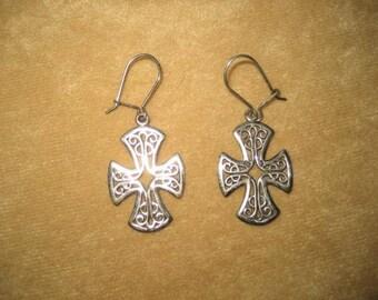 Celtic Cross Sterling Earrings Vintage