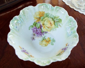 Vintage Porcelain Bowl Yellow Roses and Violets 1930s by Kuno Steinmann Company