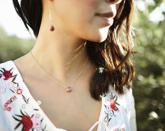 Chocolate Moonstone Teardrop Necklace- Gold