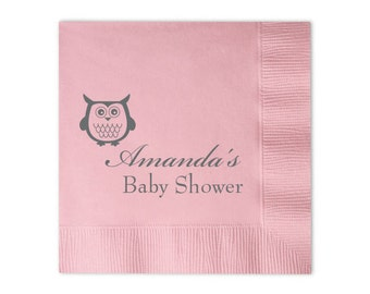 Owl Personalized Baby Shower Napkins