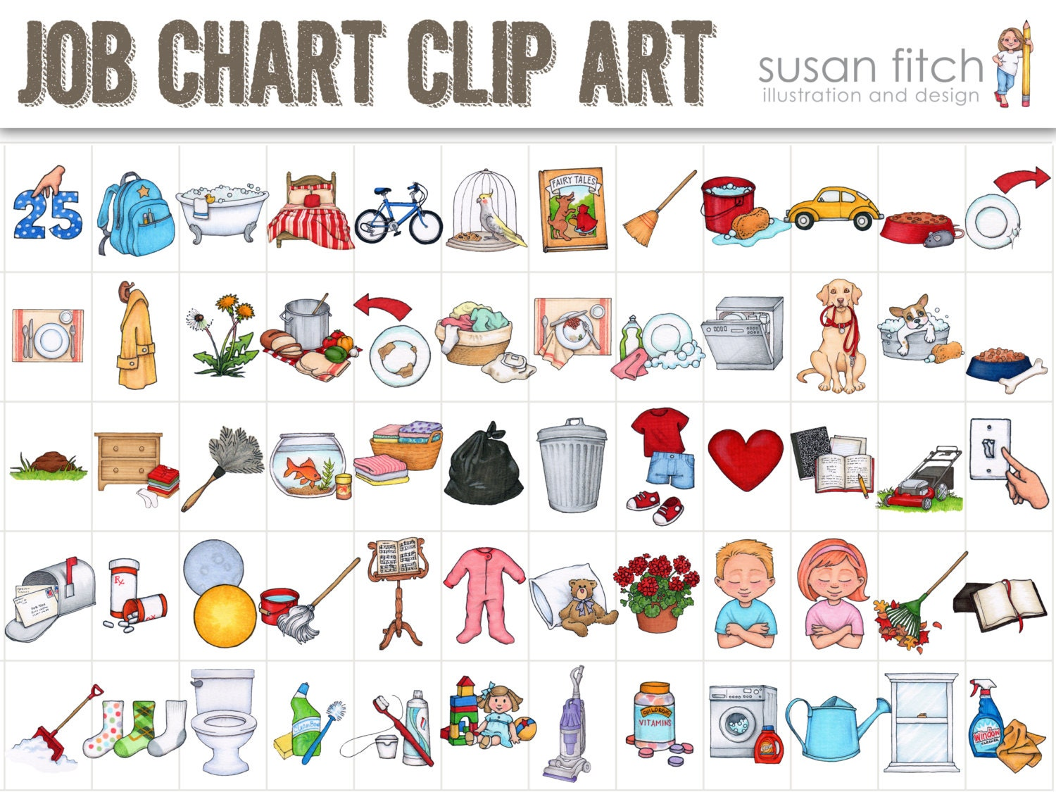 Table For 6 Year Old: Job Chart Chore Chart Clip Art