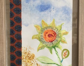 Doodling in Sunflower/Original Framed Mixed Media/Sunflower with Stitching