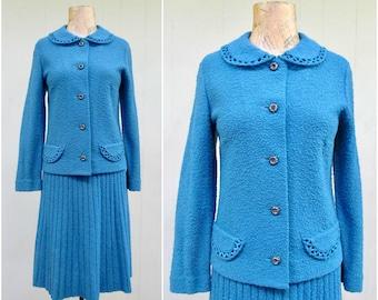 Vintage 1950s Knit Suit / 50s Kimberly Blue Wool Boucle Knit Jacket Skirt / Medium