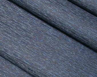 Vintage, deep indigo blue and black wool silk blend kimono fabric - by the yard