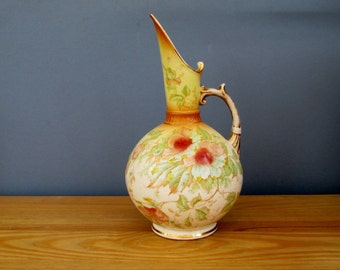 1880s Victorian Blush Ivory Cowes Pattern Flower Vase Water Jug by Keeling & Co England Home Decor