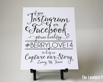 Wedding Instagram Sign - Facebook Sign - Printable Hashtag Sign - Instagram Printable - PDF - DIY - AA5