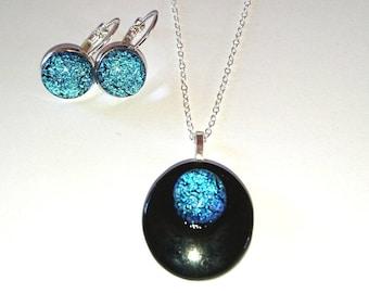 Pendant earrings black green fuse glass