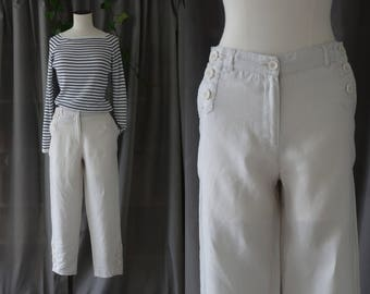 Freda high buttoned off white linen trousers | 1990's by Cubevintage | medium