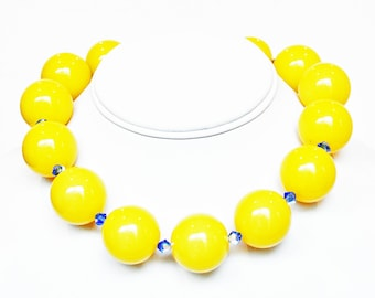 Yellow Necklace Jade Beaded Necklace with Swarovski Crystals Handmade Necklace