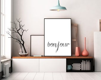 Bonjour Print, Bonjour Poster, Kitchen Poster, Kitchen Decor, Kitchen Art, Digital Art, Digital Print, Poster 24x36