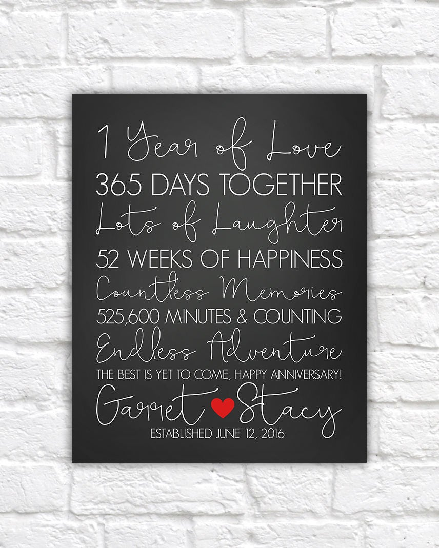 One Year Wedding Anniversary Gifts: 1 Year Anniversary Gifts, First Anniversary, 1st Year