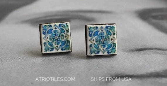 Stud Earrings Portugal  Tile Green Antique Azulejo,  Aveiro  Art Nouveau-  Stainless Steel Posts Gift Box Included - Ships from USA 424