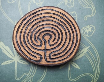 English Alder Wood Labyrinth Altar Piece - Pagan, Wicca, Witchcraft - Meditation, Amulet