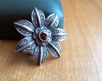 Vintage Marcasite and Garnet Style Brooch, Ornate Silvery and Marcasite Botantical Theme Pin
