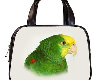 Chic Double Yellow Headed Amazon Bird 2-Sided Parrot Handbag Purse Ladies Bag Leather