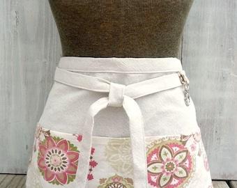 Half Apron - Modern Floral Pink, Green, Brown Women's Half Apron for Gardener, Waitress, Teacher