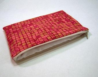 Pink Blocks Zippered Pouch
