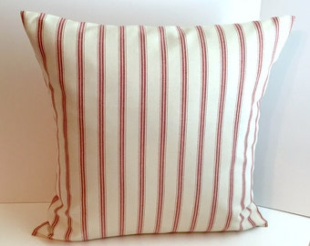 20 x 20 Red & Beige Envelope Style Pillow Cover