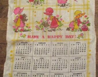 Strawberry Shortcake Sunbonnet Girl 1975 Linen Tea Towel Calendar FREE SHIPPING