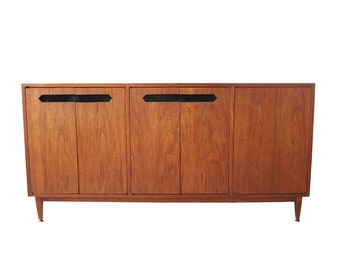 Vintage Mid Century Modern Geometric Credenza with Black Details