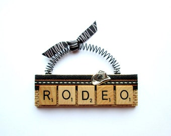 Love the Rodeo Scrabble Tile Ornaments