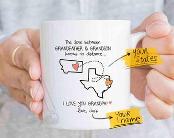 Fathers day grandpa long distance state mug, personalized grandpa long distance gift, distance quote mug, grandpa birthday gift idea MU627