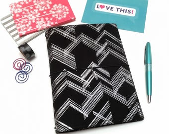A5 Bullet Journal. Silver and Black A6 Fauxdori. B6 Traveler Notebook Cover. Personal Size Planner. Cahier Notebook Cover. Travel Journal
