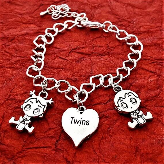 Twins Jewelry, Twins Charm Bracelet, Mother of Twins Gift, Boy Girl Charm, Mom of Triplets, Gift for Mom, Custom Twins Birthday Jewelry