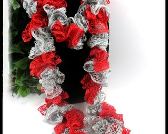 Scarlet and gray scarf, OSU scarf, Buckeyes ruffle scarf, Ohio State Football team scarf, red and gray football team scarf, team scarves