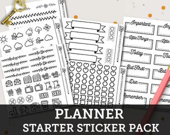 Planner Stickers Starter Pack - Bullet Journal Stickers - UPDATED!
