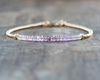 Purple Sapphire Bracelet In Silver, Gold or Rose Gold Filled, Ombre Bracelet, Gemstone Jewelry, September Birthstone, Jewellery, Wife Gift