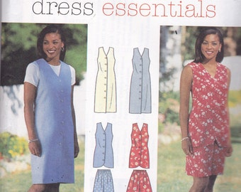 Simplicity 7043  Vintage Pattern Womens Button Down Dress and Top or Vest, Shorts and Pants Size 18,20,22 UNCUT