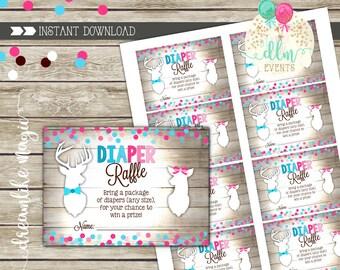 Buck or Doe Gender Reveal Diaper Raffle Printable Card, Deer Diaper Raffle, Boy or Girl, Sex Reveal, Hunting Gender Reveal, DIY Printable