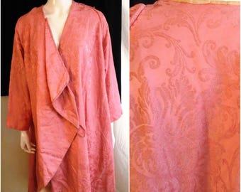 Vintage 1910s Pink Silk Damask Coat 1915 Edwardian Antique Cloak