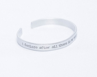 I Declare After All There Is No Enjoyment Quite Like Reading / Jane Austen Bracelet / Literary Jewelry / Pride and Prejudice Jewelry