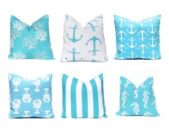 Pillows, Pillow Covers, Decorative Throw Pillow Cover Beach Decor 20 x 20 Coastal Blue Aqua on White Beach Wedding Decor Turquoise Pillow