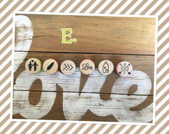 Handmade fridge magnets, pine dowel, hand painted, stamped.