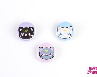BUTTON KAWAII CAT Mooncat - 1 Inch 2,5 cm 25 mm Pin Pinback Button Badge Cute Motive Black White Grey Gray Moon Crest Magical Cats