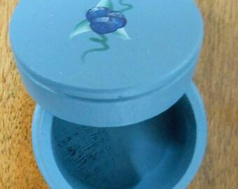 Vintage Blue Wooden Trinket Box