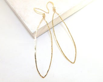 14K Gold Fill Dangle Hoop Earrings, Long Earrings, Wire Earrings, Large Oval Earrings, Minimalist Jewelry, Gold Earrings, By Durango Rose