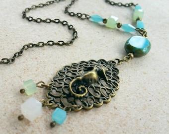 Seahorse Necklace / Nautical Necklace / Vintage Necklace / Bronze Necklace / Bead Necklace