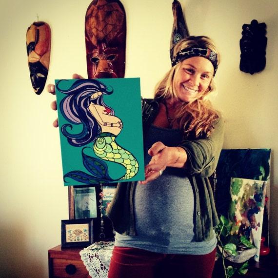 Canvas Print Pregnant Mermaid Hippie Mama Surf Art Blessingway and Pregnancy Alter Gift by Lauren Tannehill ART