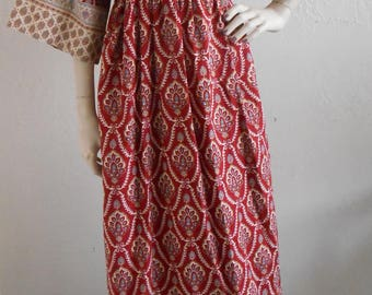 Vintage Block Print Indian Hippie Dress by Gilead Cotton Boho Festival Hostess Lounge Size Large