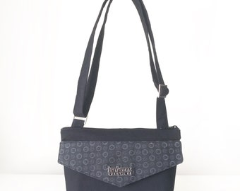 Cross Body Bag / Small Women's Handbag with Front Pocket, Adjustable Strap and Zip Closure in Black