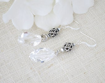 Crystal earring, Swarovski crystal, Antique sterling silver drop earring, Unique crystal dangle earring,