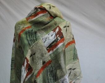 Vintage SILK scarf , garden collection