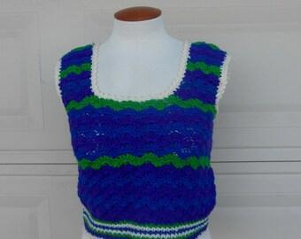 SALE 70s Crochet Top Blue Green Purple Striped Cropped Sweater Tank Top