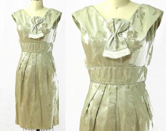 Vintage 1960s Floral Silk Brocade Peg Dress / Size XS